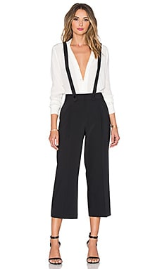 Tibi Removable Suspender Cropped Pant in Black