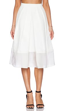 Techno Faille Pleated Skirt in Ivory