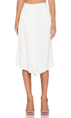 Tibi Side Drape Skirt in Ivory