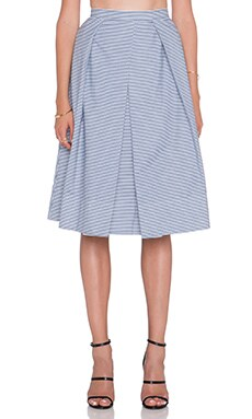 Tibi Stripe Shirting Skirt in Navy Multi