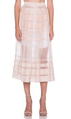 Tibi Striped Organza Skirt in Shell