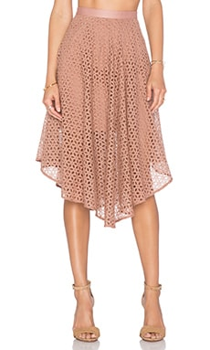Tibi Midi Skirt in Terracotta