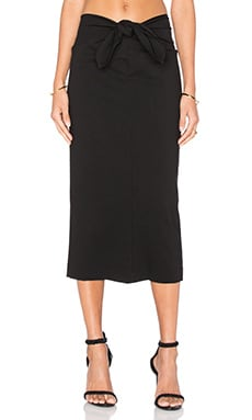 Tie Front Pencil Skirt in Black