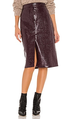 Croc Embossed Patent Trouser Skirt Tibi $191