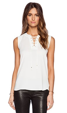 Tibi Bibelot Crepe Sailor Top in Ivory