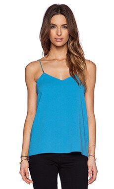 Tibi Bibelot Crepe Cami with Knot Detail in Captain Blue