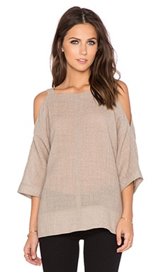 Tibi Aurora Drape Cut Out Shoulder Top in Oatmeal Melange