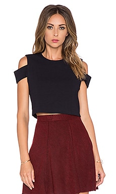 Tibi Cut Out Shoulder Top in Black