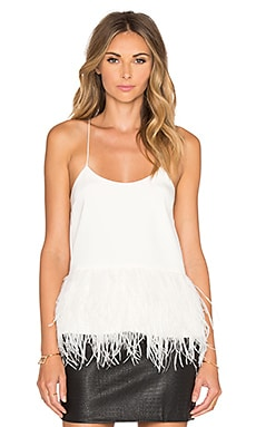 Tibi Feathered Tank in Ivory