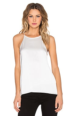 Tibi Satin Back Halter Cami in Ivory