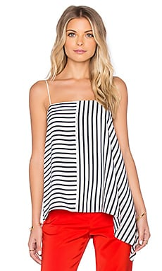 Tibi Draped Cami in Navy & White Multi