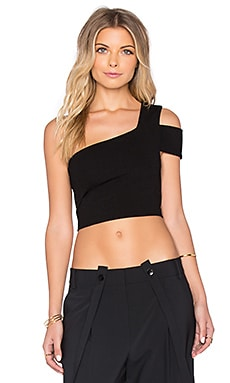 Tibi One Shoulder Cropped Top in Black