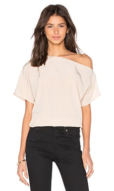Tibi Off Shoulder Top in Sand Blush