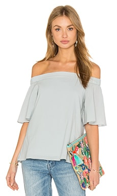 Tibi Off Shoulder Top in Light Blue