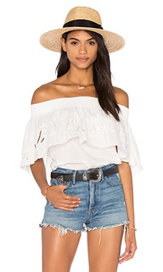 Tibi Off Shoulder Ruffle Top en Ivoire