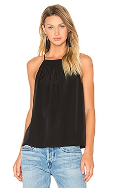 Shirred Halter Cami in Black