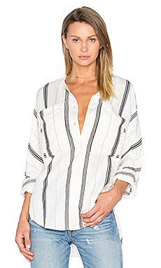 Dolman Military Blouse in Ivory & Black Multi