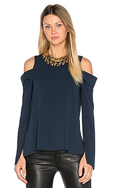 Halter Off Shoulder Top en Azul Marino Oscuro