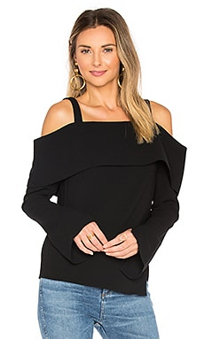 V Back Decollete Top in Black