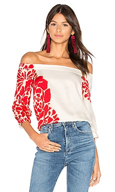 Off Shoulder Top in Ivory & Red Multi