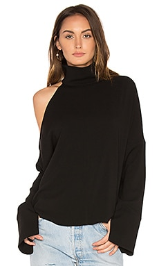 Asymmetrical Cut Out Shoulder Top in Black