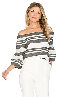 Organza Stripe Top en Ivory & Black Multi