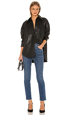 Faux Leather Relaxed Utility Blouse Tibi $395
