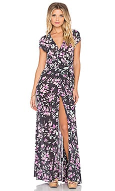 Tigerlily Hvar Floral Maxi Wrap Dress in Black