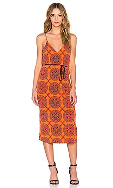 Tigerlily Hungarian Midi Dress in Hungarian Orange