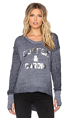 TYLER JACOBS Coffee & Cardio Garret Long Sleeve Tee in Heather Grey
