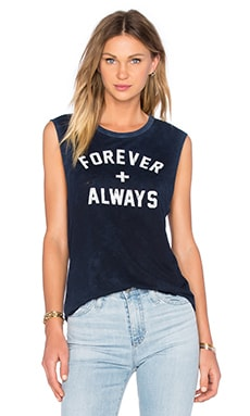 TYLER JACOBS Forever Always Cut Off Tank in Vintage Navy