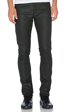 The Kooples Fit Cut Leather Effect Jeans in Black