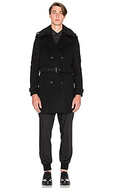 The Kooples Coat Offset Button Line Shoulder Flaps in Black
