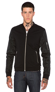 The Kooples Nylon Classic Fleece Jacket in Black