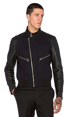 The Kooples Navy Jacket with Leather Sleeves & Check Flannel Lining in Navy
