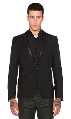 The Kooples Single Button Jacket with Collar & Pocket Piping Leather in Black