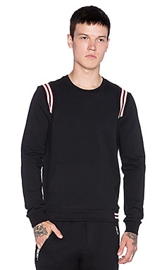 The Kooples Sport Sweatshirt Fleece Stripped Rib in Black