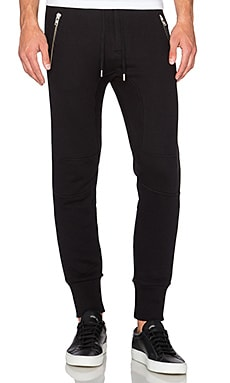 The Kooples Sport Trousers Supple Fleece & Leather in Black