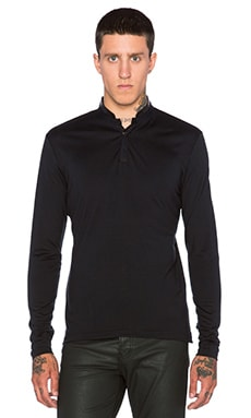 The Kooples Wool T Shirt with Tunisian Neckline & Stand Up Collar in Black
