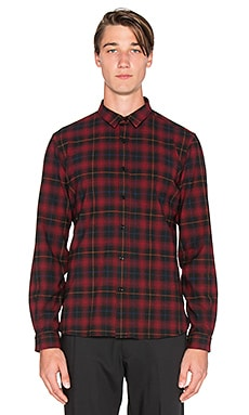 The Kooples Cross-Dyed Tartan Shirt in Red