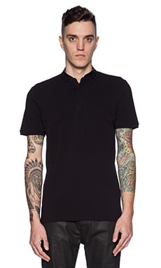 The Kooples Shiny Pique And Leather Polo in Black