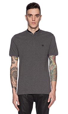 The Kooples Shiny Pique And Leather Polo in Grey