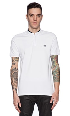 The Kooples Shiny Pique And Leather Polo in White