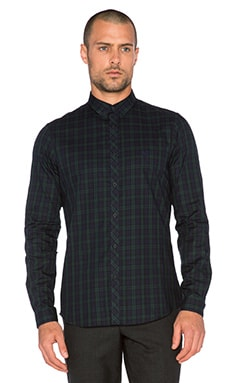 The Kooples Sport Check Shirt with Embroidery in Navy Green