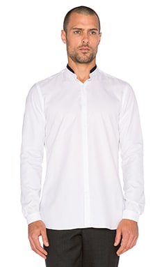 The Kooples Cotton Pique Stand Up Collar Shirt in White