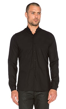 The Kooples Plain Cotton Poplin Shirt with Stand Up Collar in Black