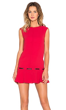 The Kooples Low Waist Dress in Crepe and Vinyl in Red