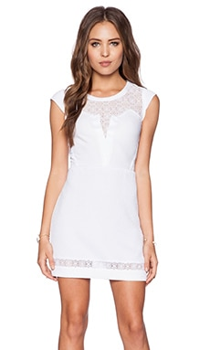 Lace Trim Dress en Blanc