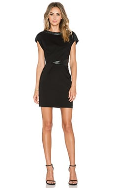 The Kooples Sleeveless Dress with Cracked Vinyl Details in Black