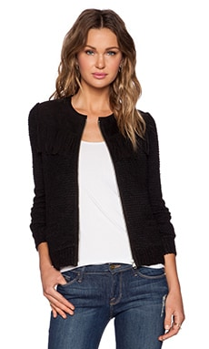 The Kooples Fringe Suede Cardigan in Black